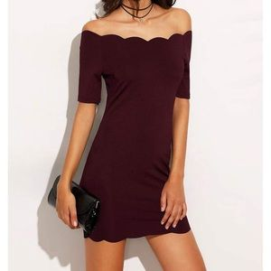 Shein maroon scalloped dress